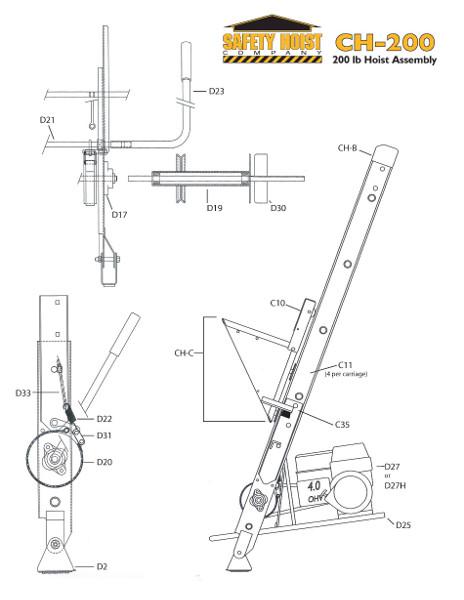 Safety Hoist Ch200 200lb Ladder Hoist From Buymbs Com