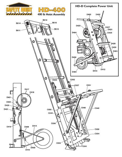 Details about Safety Hoist HD400 - 400lb  Steel Based Ladder Hoist