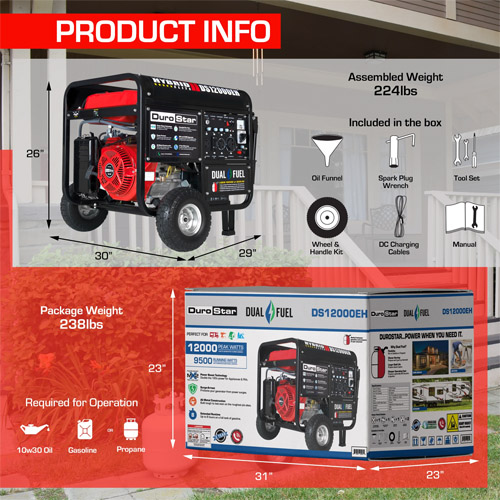 DuroStar DS12000EH Dual Fuel Electric Start Generator