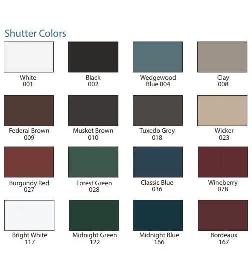 Mid-America Shutter Samples 16 Color Options