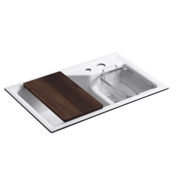 Kohler Indio Smart Divide Double Basin Cast Iron Sink with cutting board