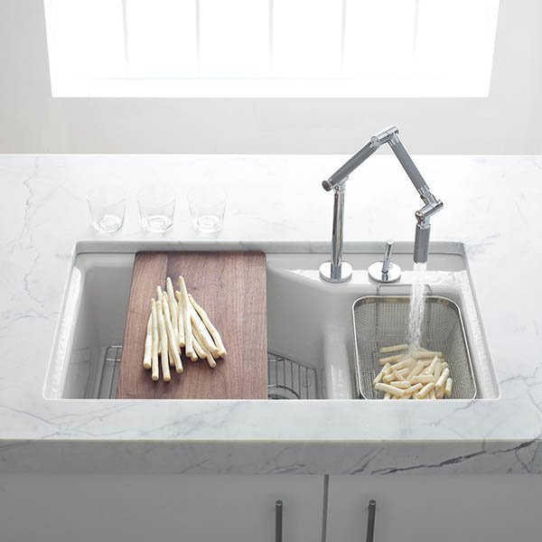 Kohler Indio Smart Divide Double Basin Cast Iron Sink Installed