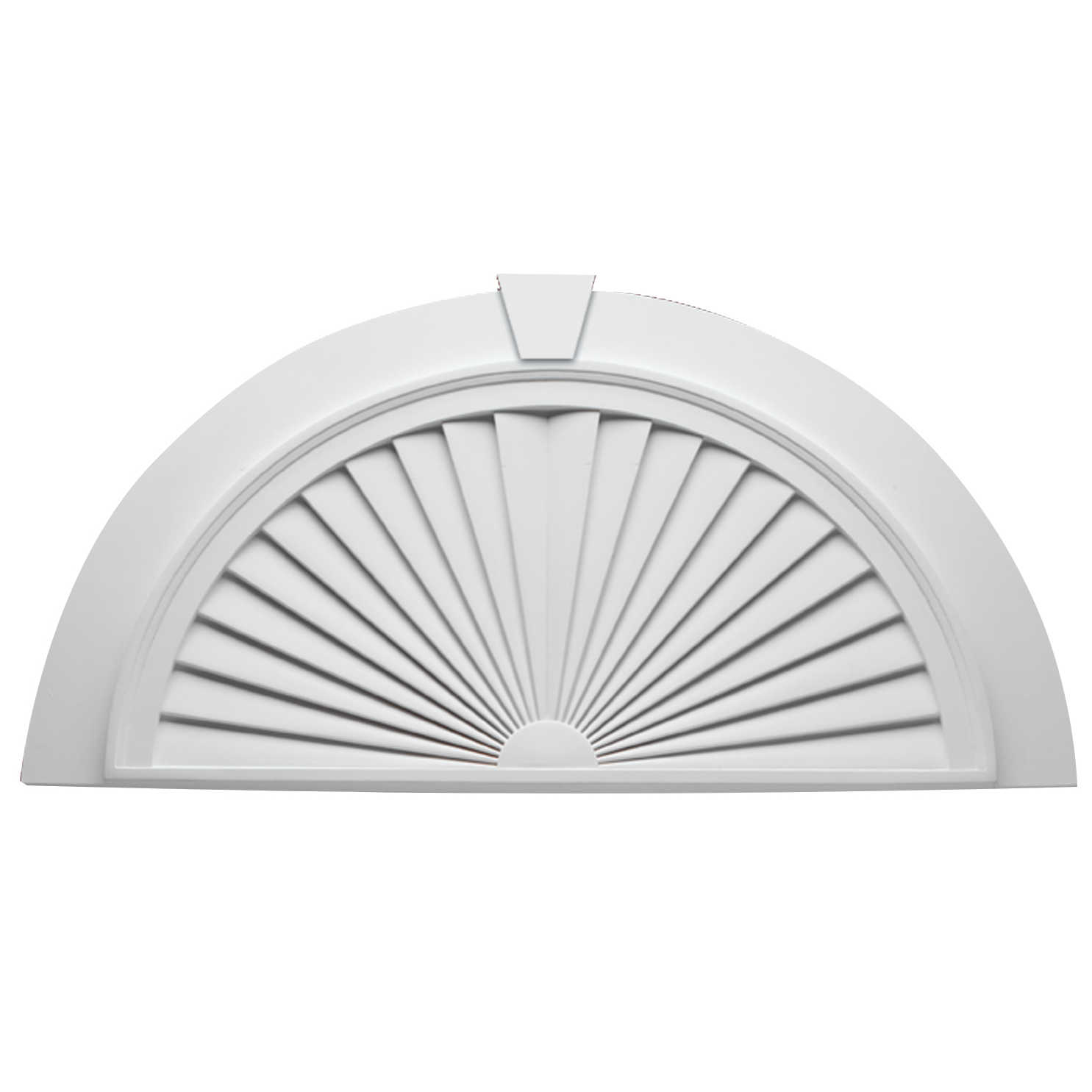 Fypon polyurethane half round sunburst with flat trim and Fypon molding