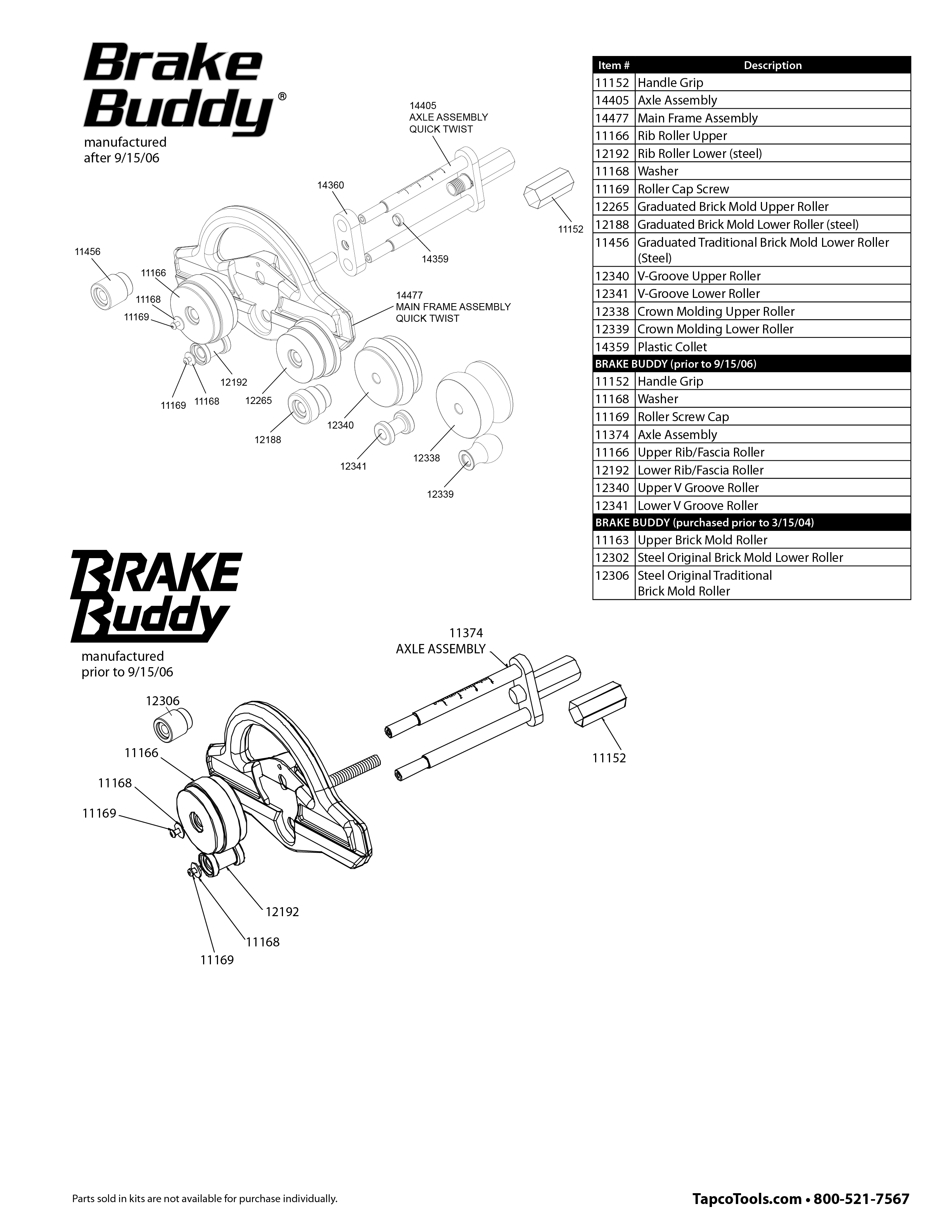 Brake Parts List : Tapco brake buddy replacement parts from buymbs
