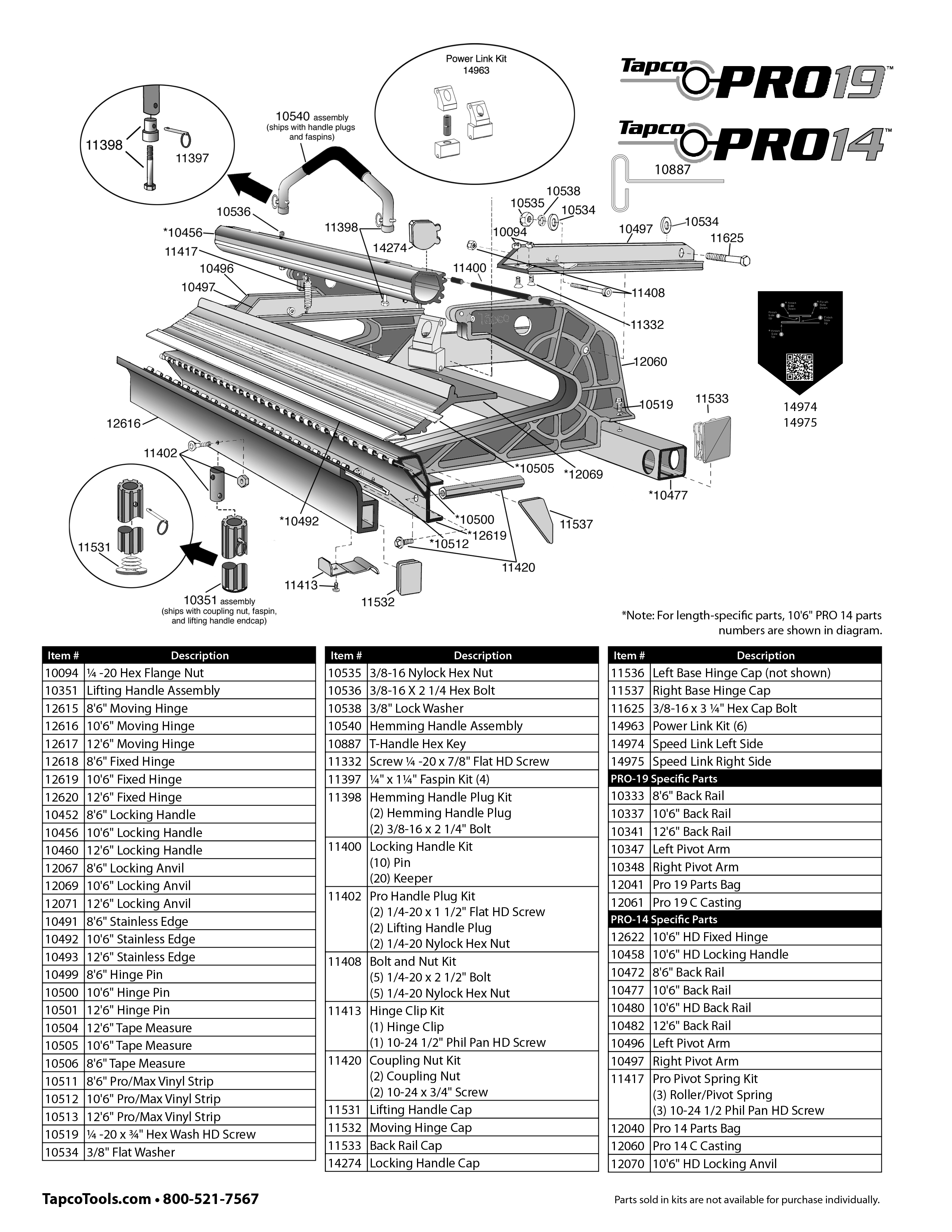Tapco Pro 14 Replacement Parts From Buymbs Com