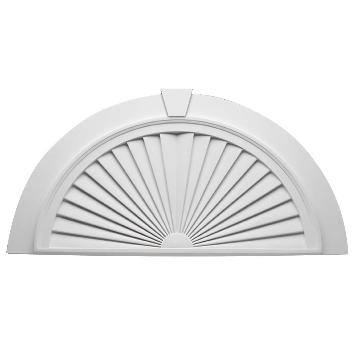 Fypon polyurethane half round sunburst with flat trim and for Fypon molding