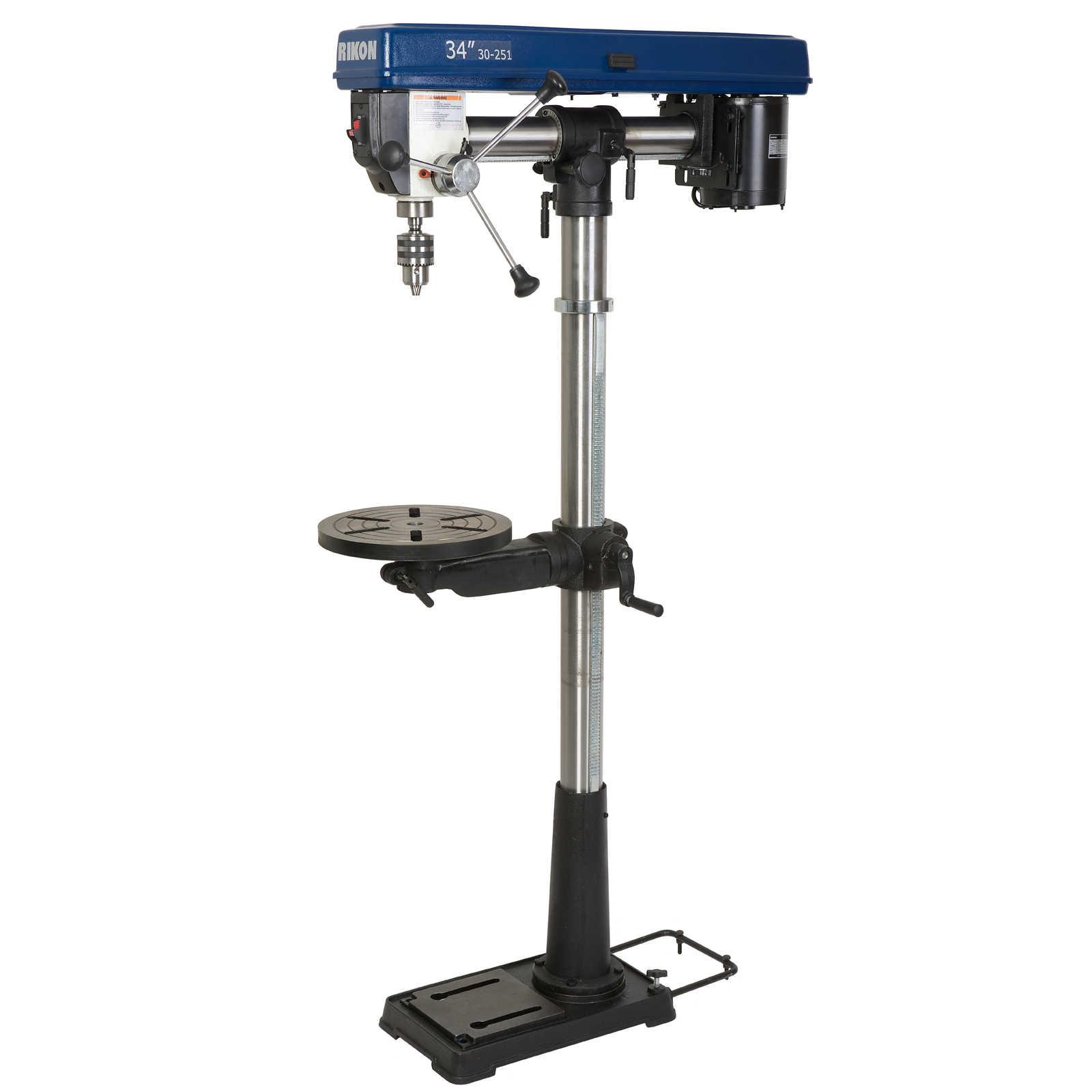 Rikon 34in 1 3hp radial floor model drill press from for 13 floor drill press