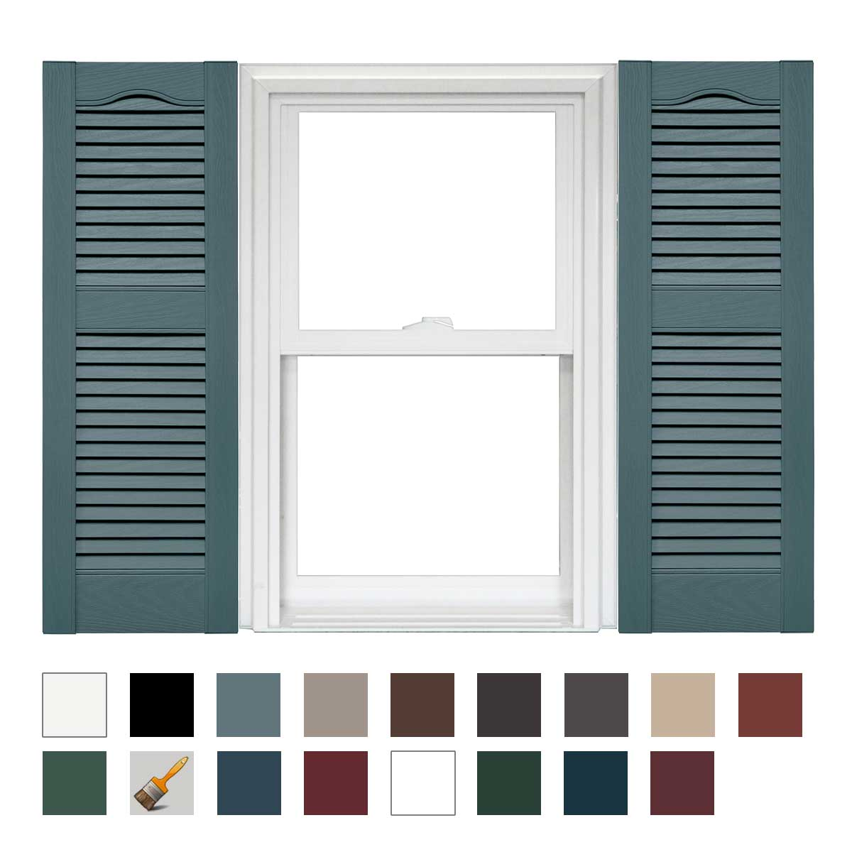 Mid America Cathedral Open Louver Vinyl Standard Shutter 14 Width 1 Pair Ebay